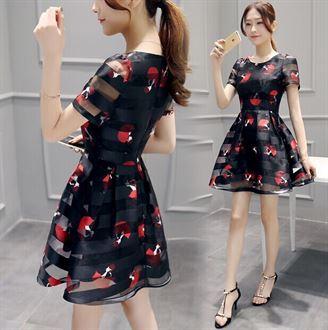 2016夏季新款女装韩版修身大码圆领时尚印花裙短袖欧根纱连衣裙