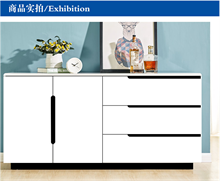现代简约餐边柜烤漆储物柜茶水柜多功能白色碗柜厨房酒柜组装